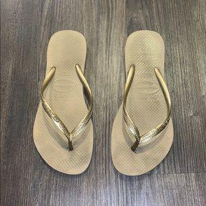 Gold Havaianas Flip Flops